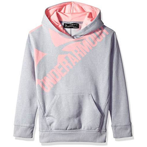 Under Armour Girls' Threadborne Novelty Fleece Hoodie,Overcast Gray /Pop Pink, Youth Small