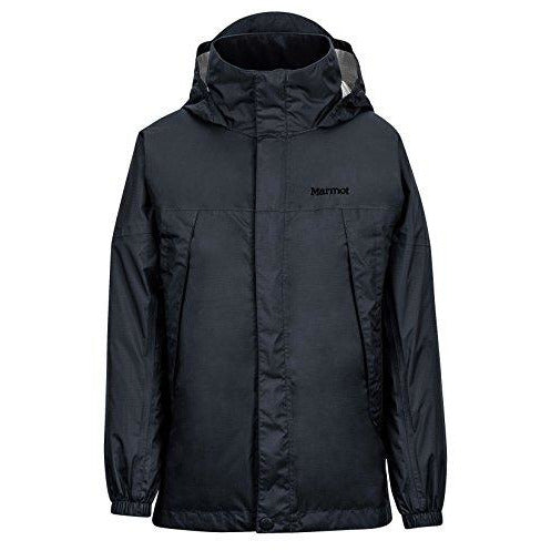 Marmot Boys' PreCip Lightweight Waterproof Rain Jacket, Jet Black, X-Large