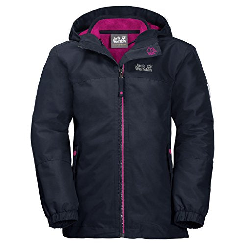 Jack Wolfskin Girl's G Iceland 3-in-1 Waterproof Insulated System-Zip Jacket, Midnight Blue, Size164(13-14)