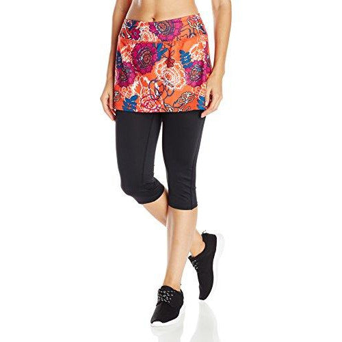 Skirt Sports Women's Lotta Breeze Capri Skirt, Black/Frolic Print, X-Small