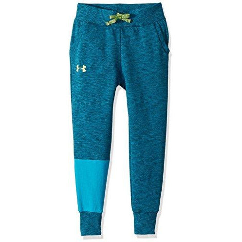 Under Armour Girls Double Knit Jogger, Deceit Light Heather (439)/High-Vis Yellow, Youth X-Small