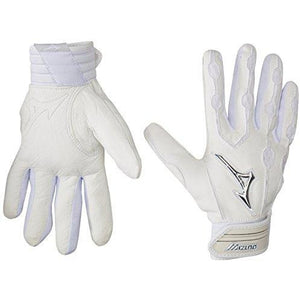 Mizuno Youth Covert Batting Gloves, White, Small