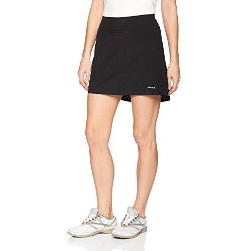 Annika by Cutter & Buck Women's Moisture Wicking Drytec 50+ UPF Solid Pull-On Jersey Skort, Black, Medium