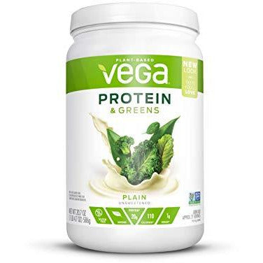 Vega Protein & Greens Plain Unsweetened (21 Servings, 20.7 Ounce) - Plant Based Protein Powder, Keto-Friendly, Gluten Free, Non Da