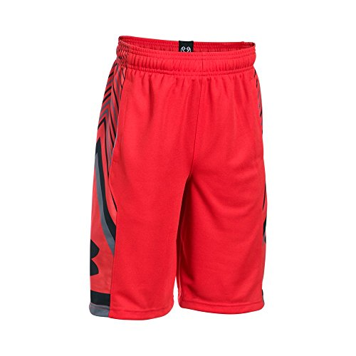 Under Armour Boys' Space the Floor Shorts,Red (600)/Black, Youth X-Small