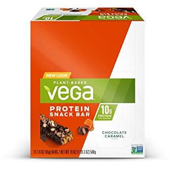 Vega Protein Snack Bar Chocolate Caramel, Plant Based Vegan Protein Bars, Non Dairy, Gluten Free, Non Gmo, 12 Count