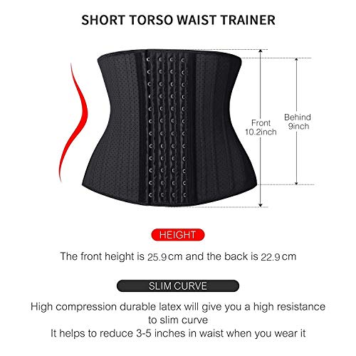 SHAPERX Waist Trainer Corset for Weight Loss - Short Torso Faja Colombiana Latex Waist Trimmer Belt Waist Cincher Slimming Waist Shaper, (SZ11300-Black, S)