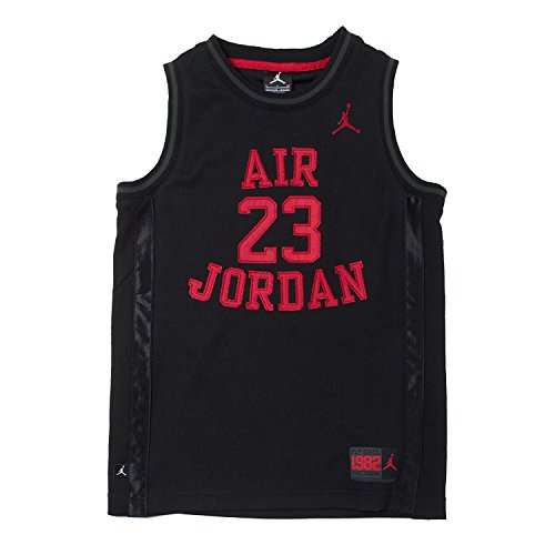 Nike Air Jordan Boys Mesh Jersey Shirt, (Black/Red, Size XL)