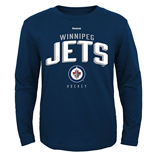 Nhl Winnipeg Jets Boys 8-20 Arched Standard Long Sleeve Tee, Navy, Large