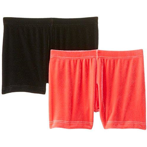 Clementine Big Girls' Plush Velvet Boy-Cut Shorts 2Pack, Black, 8/10