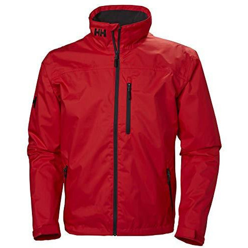 Helly Hansen Men's Crew Midlayer Fleece Lined Waterproof Windproof Breathable Rain Coat Jacket, 222 Alert Red, Small