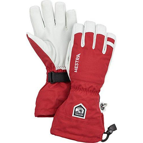 Hestra Ski Gloves: Army Leather Heli Leather Cold Weather Powder Gloves, Red, 8