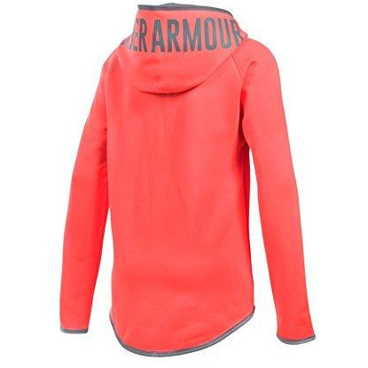 Under Armour Girls' Armour Fleece Jumbo Logo Hoodie, After Burn (877)/Steel, Youth Small