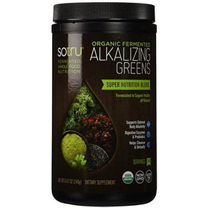 SoTru Alkalizing Greens - 240 grams - Fermented Superfood Blend with Digestive Enzymes, Probiotics & Prebiotic Fiber - USDA Certified Organic, Non-GMO, Vegan, Gluten-Free - 30 Servings