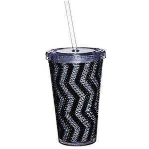 Gifted Living 2Ac0222C Zig Zag Bling Chevron Pattern Insulated Travel Cup, Black