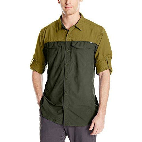 Columbia Men's Silver Ridge Blocked Long Sleeve Shirt, Large, Mossy Green/Surplus Green