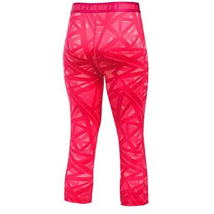 Under Armour Girl's HeatGear Armour Printed Capris, Gala (692)/Gala, Youth Medium