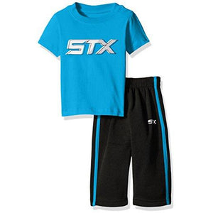 Stx Baby Boys' 2 Piece T-Shirt And Fleece Pant, Black/Turquoise, 18 Months