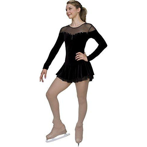 ChloeNoel DLV04 - Velvet Double Layer Mesh Skirt Figure Skating Dress DLV04 Black Adult Small