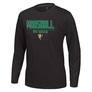 J America Ncaa Marshall Thundering Herd Boys Youth School Slogan Long Sleeve Callout Poly Tee, Black, Large