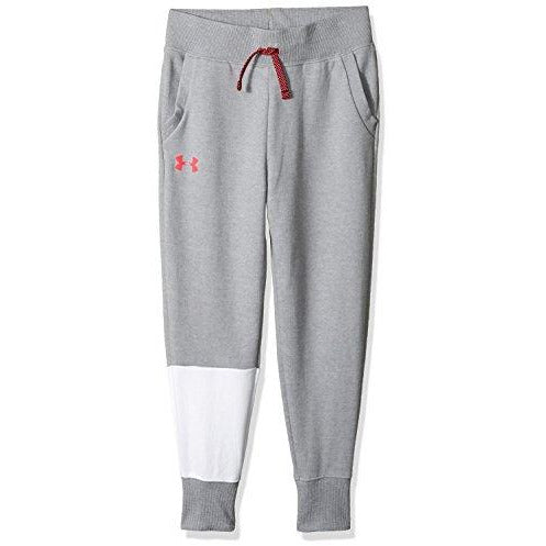 Under Armour Girls Double Knit Jogger, Steel Light Heather (035)/Penta Pink, Youth Medium