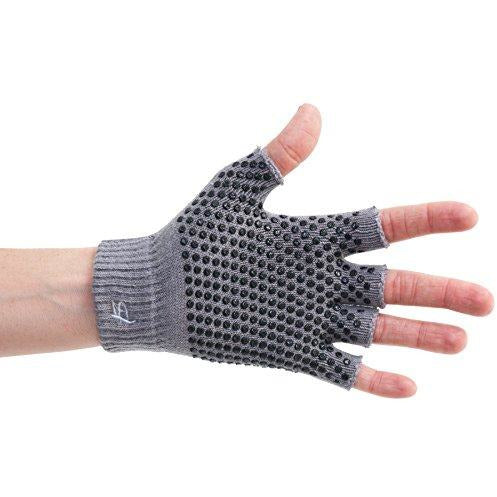 Prosource Fit Grippy Yoga Gloves, One Size Fits All, Non-Slip Fingerless Design in Gre