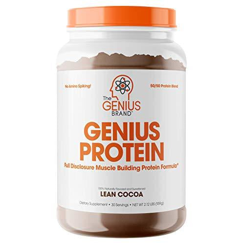 Genius Protein Powder - Natural Whey Protein Isolate & Micellar Casein Lean Muscle Building Blend, Grass Fed Post Workout Strength
