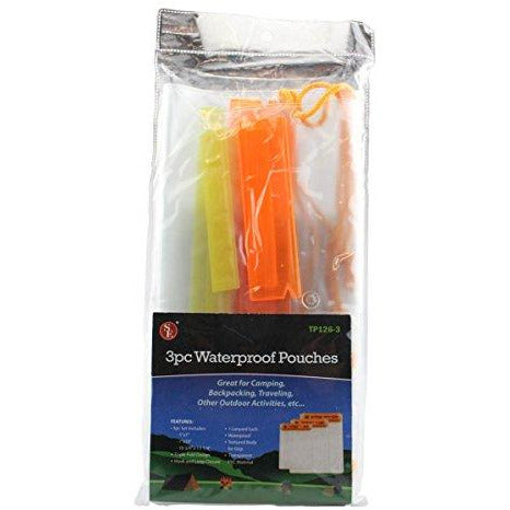 SE TP126-3 Set of 3 Waterproof Plastic Pouches with Hook and Loop Closure