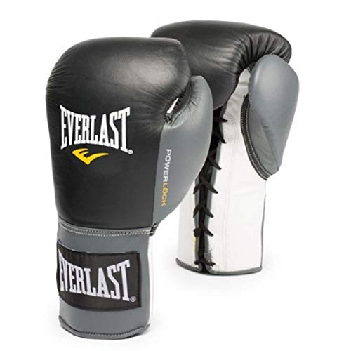 Everlast 2200255 Powerlock Training Gloves (Laced) Black/Grey 16oz