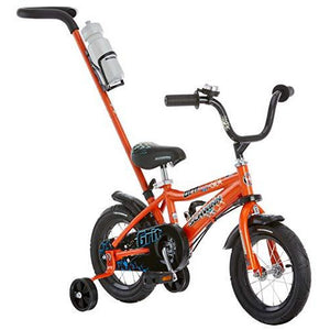 Schwinn Grit Steerable Kids Bike, Featuring Push Handle For Easy Steering, Training Wheels, Enclosed Chainguard, Quick-Adjust Seat