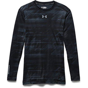 Under Armour Men'S Coldgear Armour Printed Compression Crew, Black /Steel, Small