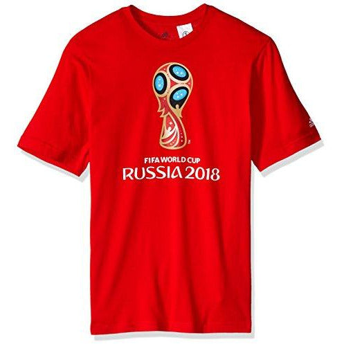 adidas World Cup Soccer World Cup Emblem Youth Boys World Cup Emblem Tee, Medium, Red