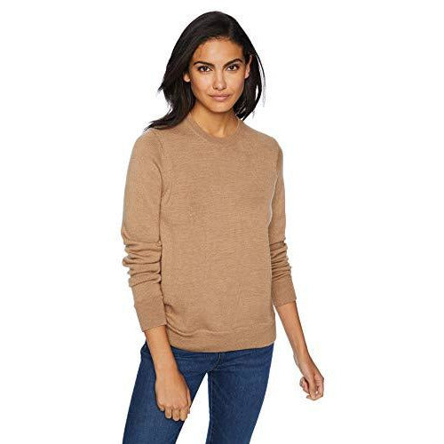 Icebreaker Merino Women's Muster Crewe Athletic Sweaters, Medium, Camel Heather