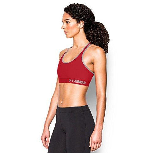 Under Armour Women'S Armour Mid Sports Bra, Red /Aluminum, X-Large