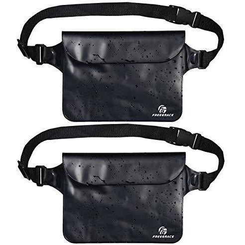 Freegrace Waterproof Pouches Set with Waist Strap - Keep Your Phone and Valuables Dry and Safe – Waterproof Dry Bags for Boating Swimming Snorkeling Kayaking Beach Water Parks Fishing (2 Pack Black)