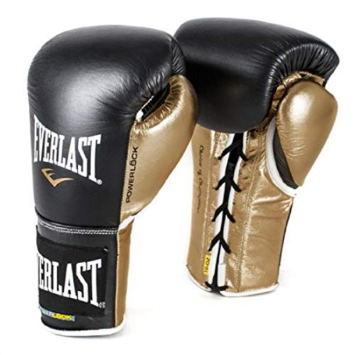 Everlast P00000586 Powerlock Training Gloves (Laced) Black/Gold 16oz