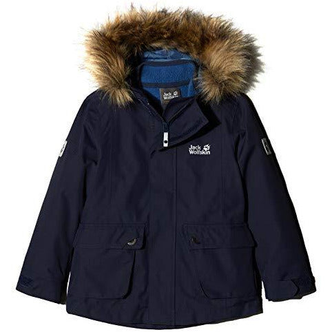 Jack Wolfskin Girl's G Elk Island 3-in-1 Parka Waterproof Insulated System-Zip Jacket, Midnight Blue, Size128