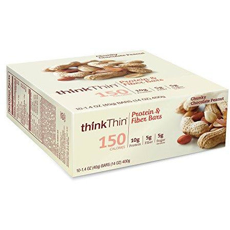 Protein & Fiber Bars By Thinkthin - On The Go, Low Sugar, 10G Protein, 5G Fiber, Gluten Free, Non-Gmo - Chunky Chocolate Peanut (1