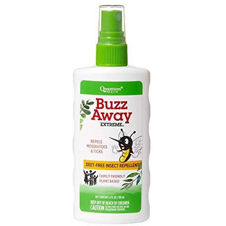 Quantum Health Buzz Away Extreme - DEET-free Insect Repellent, Essential Oil Bug Spray - Small Children and Up, Travel Friendly, 4 Fl Oz
