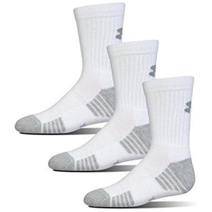 Under Armour Boys Heatgear Tech Crew Socks, White, Youth Medium , 3- Pairs