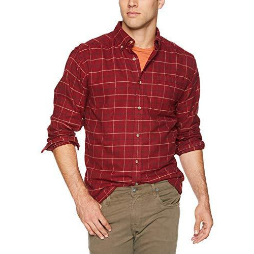 Mountain Khakis Men's Downtown Flannel Shirt, Raisin, Large