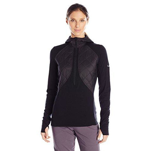 Icebreaker Merino Women's Ellipse Midweight Half Zip Hoodie, New Zealand Merino Wool, Black, LG