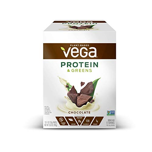 Vega Protein Greens Chocolate (12 Count 11 Oz Packets) Plant Based Protein Powder Gluten Free Non Dairy Vegan Non Soy Non Gmo (Pac
