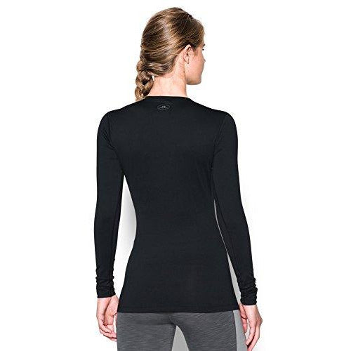 Under Armour Women's ColdGear Authentic Crew, Black (001)/Silver, Small