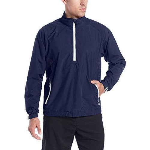 Zero Restriction Men's Power Torque 1/4 Zip Rain Jacket, Navy/Metallic Silver, Small