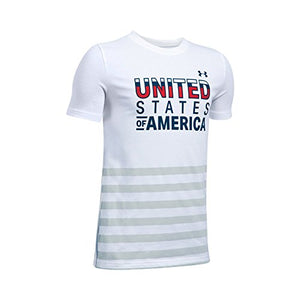 Under Armour Boys' Usa T-Shirt,White (100)/Blackout Navy, Youth Large