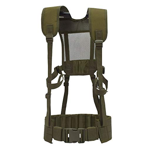 SINAIRSOFT Tactical MOLLE Battle Belt with Suspenders, Harness Molle Battle Belt with Staps for Attaching More Pouches or Tactical Equipment Army Green
