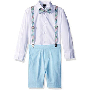 Izod Boys 4-Piece Suspender Set With Dress Shirt, Bow Tie, Shorts, And Suspenders, Sea Aqua, 6