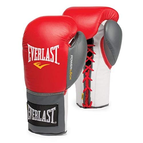 Everlast 2200056 Powerlock Training Gloves (Laced) Red/Grey 12oz