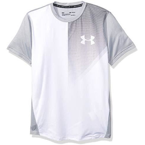 Under Armour Kids Boy's Raid Short Sleeve Tee (Big Kids) White/Overcast Gray/Graphite Medium